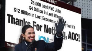RAGE IN NYC: Giant Billboard SLAMMING Ocasio-Cortez Erected in the Heart of Times Square
